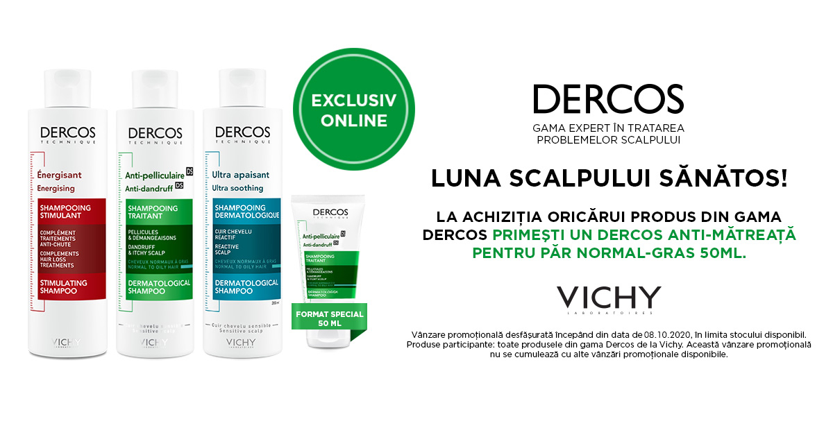 Oricare produs Vichy Dercos are CADOU un sampon Dercos anti-matreata pentru par normal-gras, 50 ml