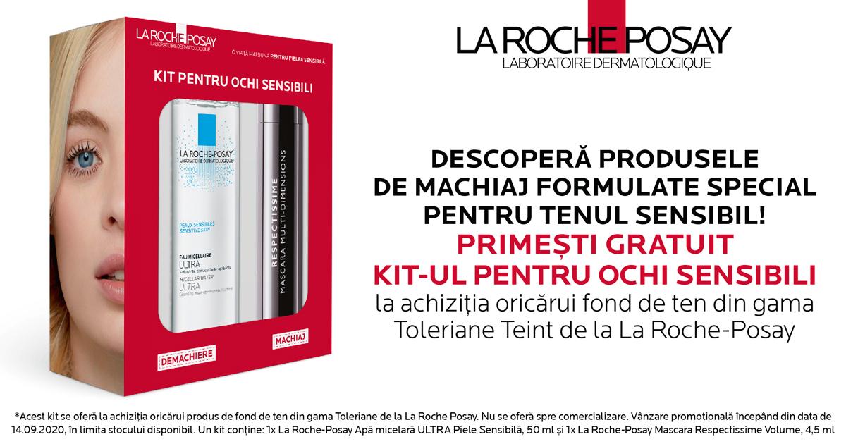 Orice fond de ten Toleriane Teint de la La Roche-Posay iti aduce cadou un Kit pentru ochi sensibili!