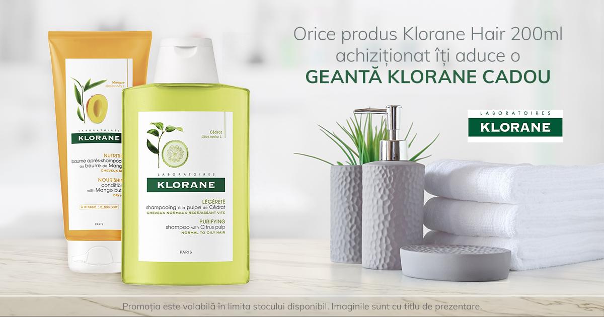 Orice produs Klorane Hair de 200 ml iti aduce CADOU o Geanta Klorane