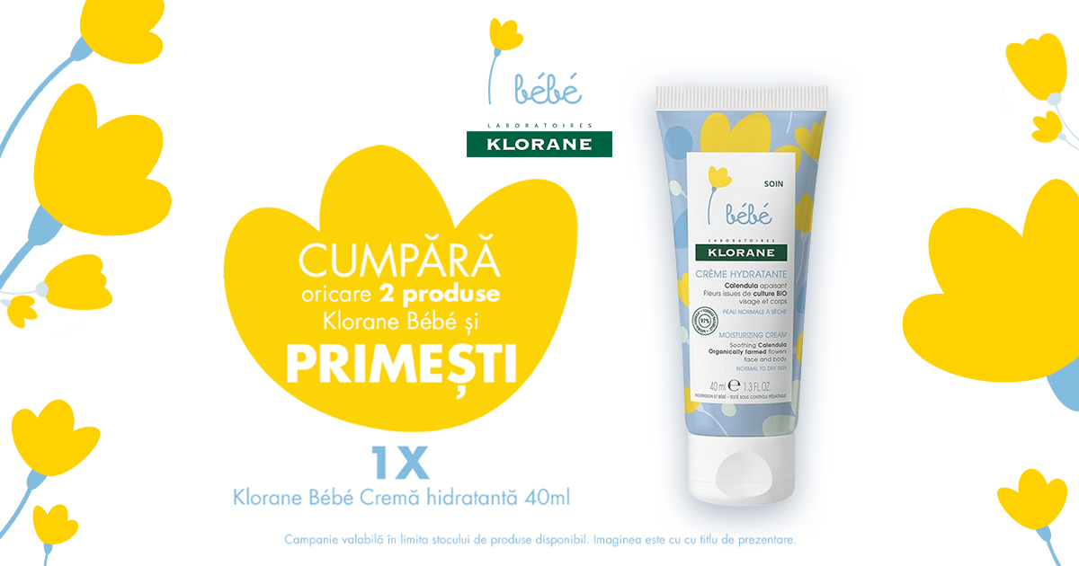 Primesti o crema hidratanta cadou la oricare 2 produse achizitionate din gama Klorane Bebe!